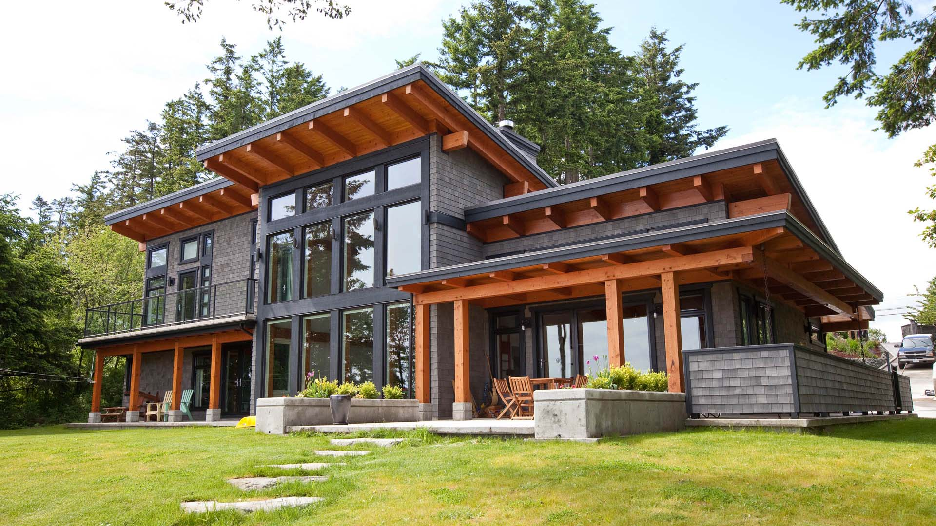 Modern beachfront timber frame island timber frame - Exterior painting vancouver property ...