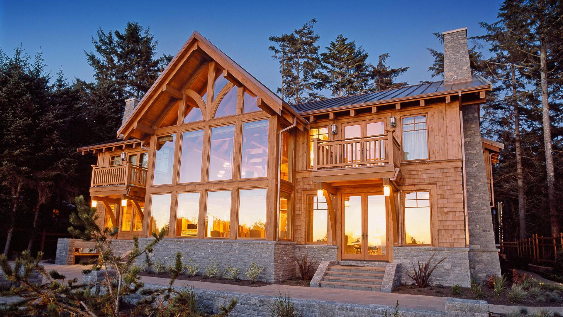 Classic timber frame island timber frame for Small timber frame house designs