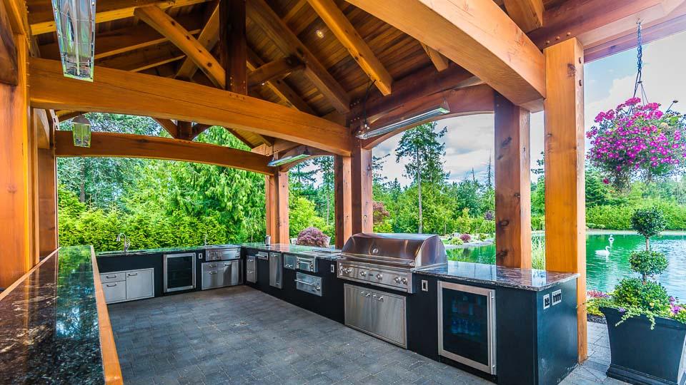 Western Red Cedar Outdoor Kitchen Island Timber Frame